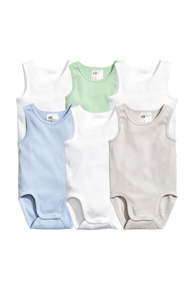 6-pack sleeveless bodysuits - White -  | H&M CN