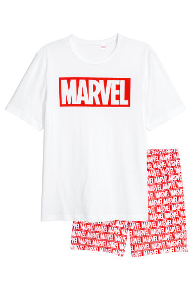 Pyjama T-shirt and shorts - White/Marvel Comics - Men | H&M