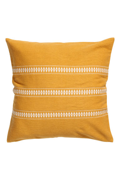 Jacquard-pattern cushion cover - Mustard yellow/Striped - Home All | H&M GB