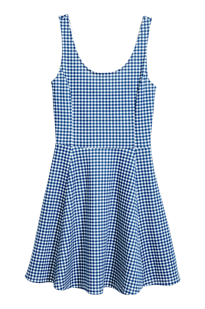 09c70f6ff1 Dżersejowa sukienka - Niebieski Krata - ONA