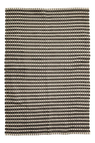 Jacquard-weave cotton rug - Natural white/Anthracite grey - Home All | H&M CN