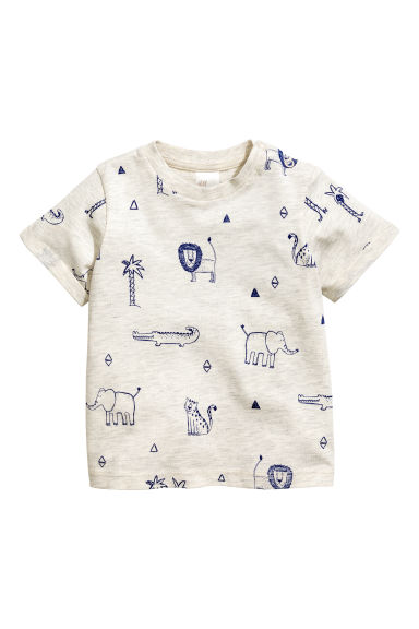 Printed T-shirt - Light beige marl - Kids | H&M GB