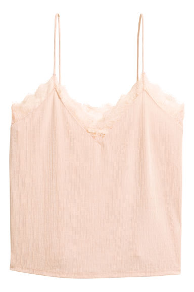 Jersey top with lace - Powder -  | H&M GB