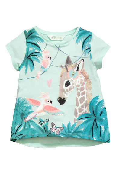 Printed top - Mint green/Giraffe -  | H&M