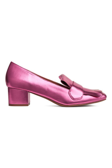 Block-heeled loafers - Cerise/Metallic - Ladies | H&M