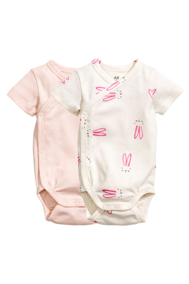 2-pack wrapover bodysuits - Light pink - Kids | H&M CN