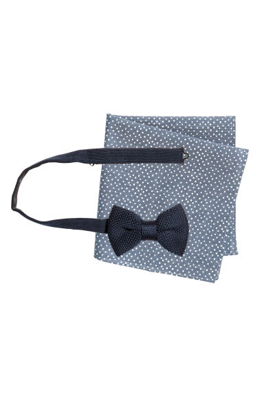 Bow tie and handkerchief - Dark blue/Spotted - Men | H&M CN