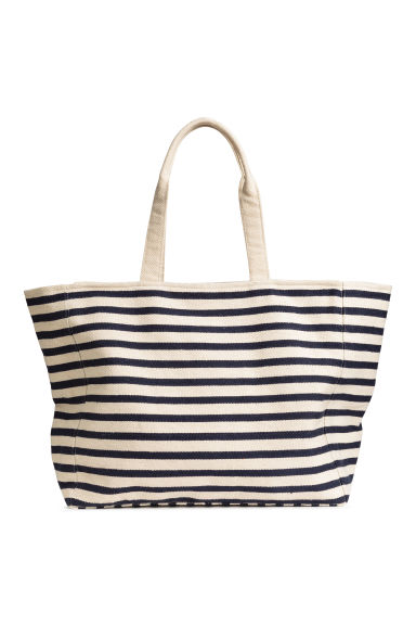 Canvas shopper - Natural white/Blue/Striped -  | H&M GB