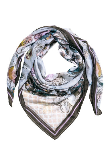 Patterned scarf - Light blue/Floral - Ladies | H&M CN