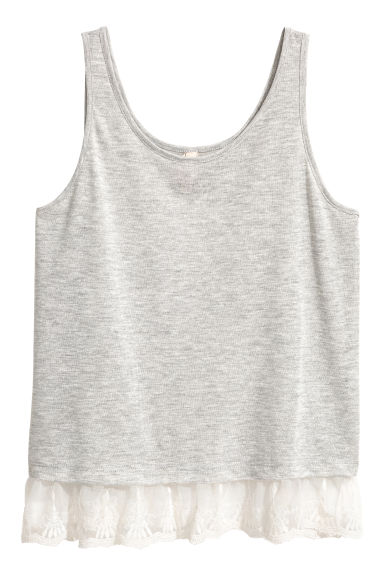 Lace-trimmed vest top - Light grey marl - Ladies | H&M