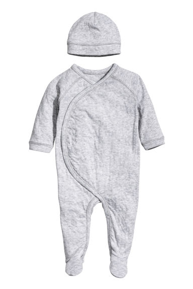 Jersey romper suit and hat - Light grey marl -  | H&M IE