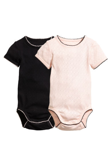 2-pack pointelle bodysuits - Powder pink - Kids | H&M IE