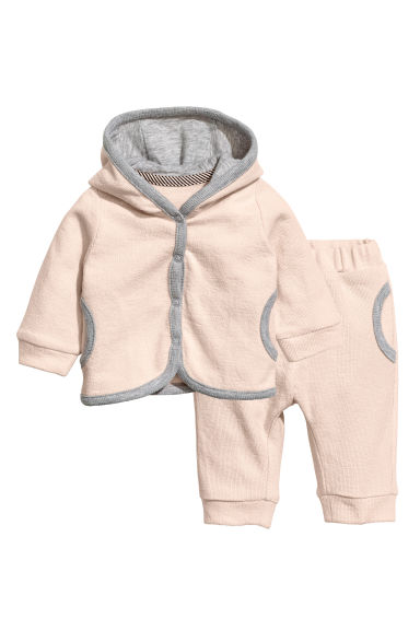 Hooded jacket and trousers - Powder pink - Kids | H&M CN