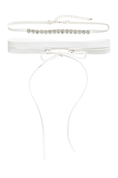 Set van 2 chokers - Wit -  | H&M NL