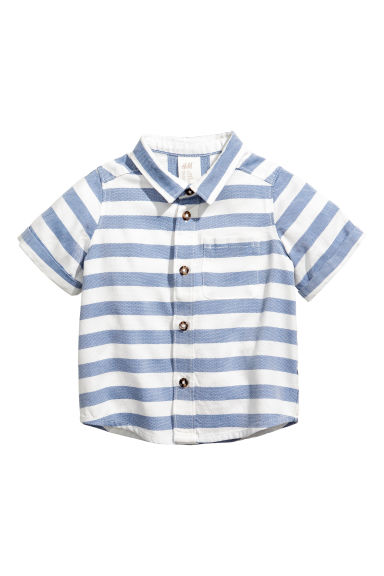 Lyocell-blend shirt - Blue/White/Striped - Kids | H&M GB