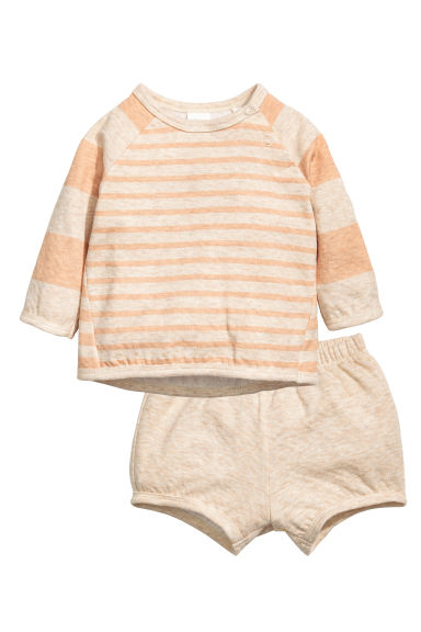 Top and shorts - Beige/Apricot - Kids | H&M CN