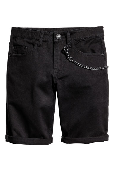 Twill shorts with a keychain - Black - Kids | H&M GB