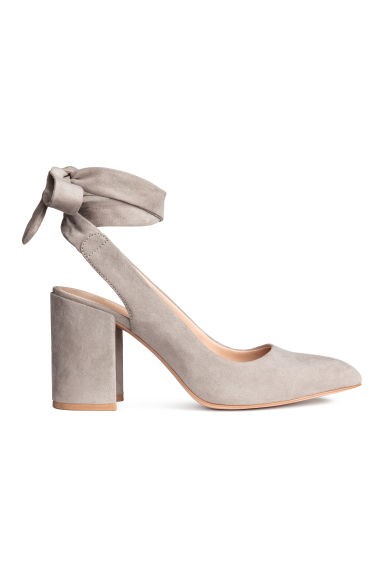 Court shoes with ties - Light grey - Ladies | H&M GB