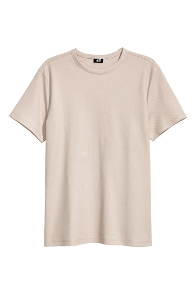 Cotton piqué T-shirt - Light beige - Men | H&M