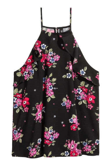 Frilled strappy top - Black/Floral -  | H&M CN