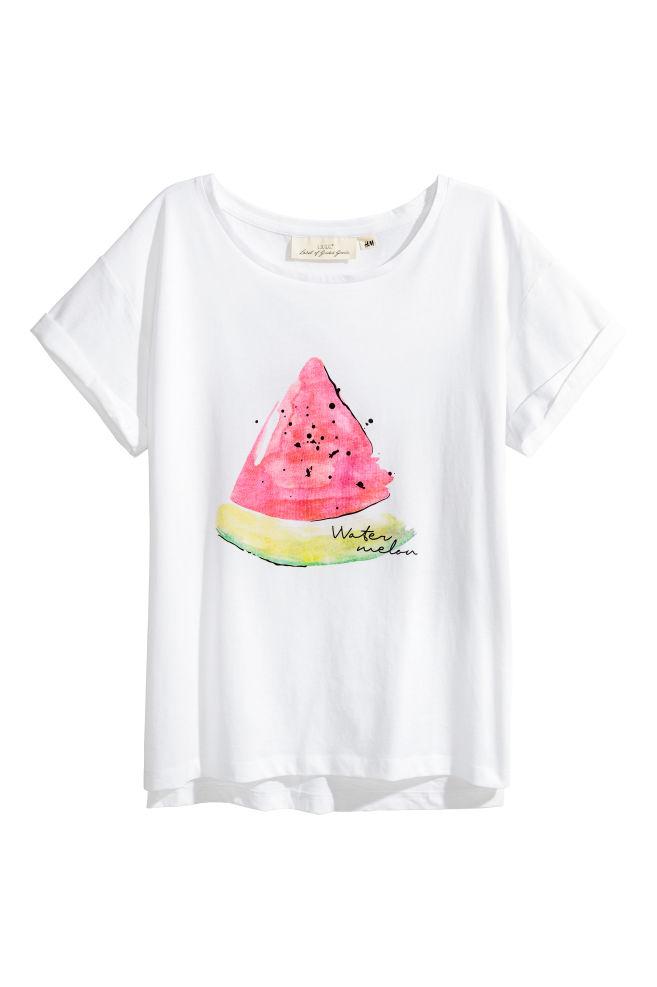 0f62e4ad3 Printed cotton top - White/Watermelon - Ladies   H&M ...