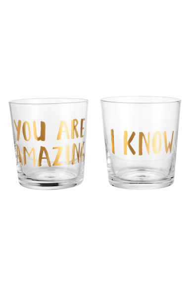 Printed glass - Clear glass/Gold - Home All | H&M GB
