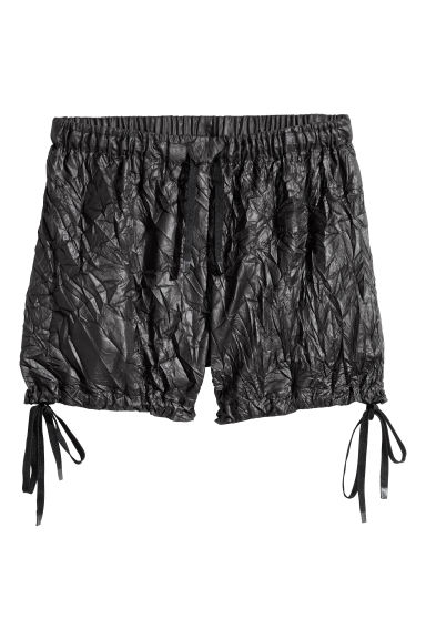 Crinkled nylon shorts - Black -  | H&M