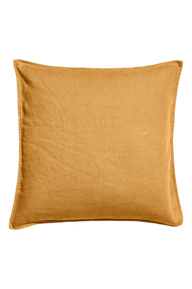 Housse de coussin en lin - Jaune moutarde - Home All | H&M FR