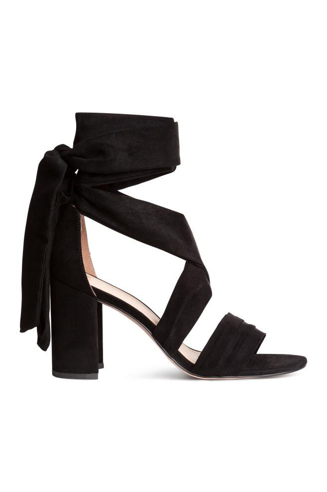 accdeb14243 Ankle-tie sandals - Black - Ladies