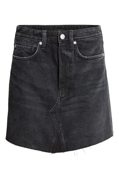 Short denim skirt - Black denim -  | H&M
