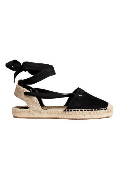 Espadrilles with lacing - Black - Ladies | H&M GB