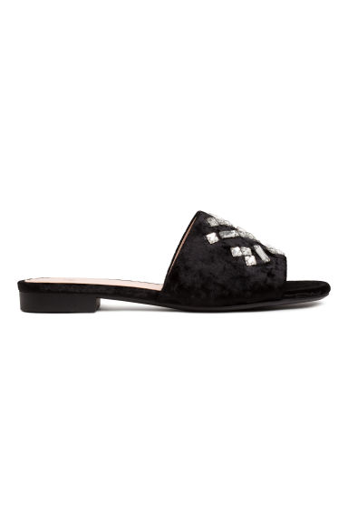 Velvet slides - Black -  | H&M