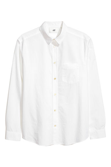 Pima cotton poplin shirt - White - Men | H&M