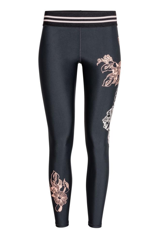 31c3c4256468d Sports tights - Black/Floral - Ladies   H&M ...