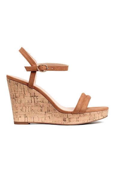 Wedge-heel sandals - Light brown - Ladies | H&M
