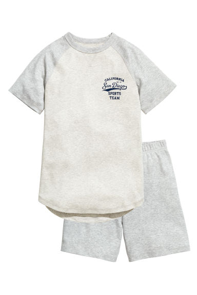 Jersey pyjamas - Light grey/Striped - Kids | H&M