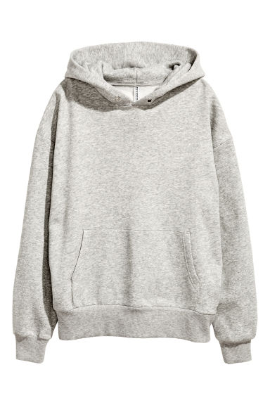 Oversized hooded top - Grey marl -  | H&M GB