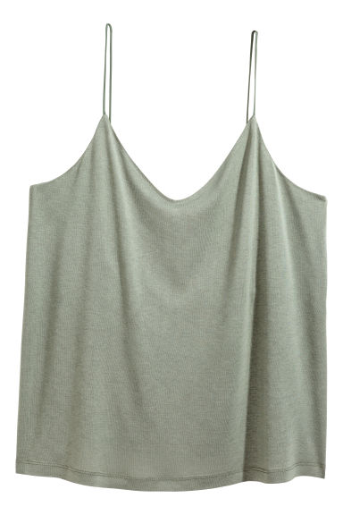 H&M+ Jersey strappy top - Dusky green - Ladies | H&M IE