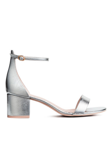Ankle-strap sandals - Silver - Ladies | H&M CN