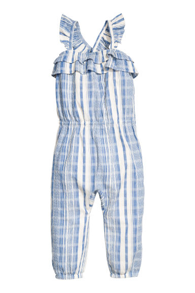 Cotton dobby romper suit - Blue/White/Striped -  | H&M IE