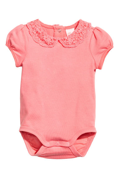 Bodysuit with lace collar - Pink - Kids | H&M CN
