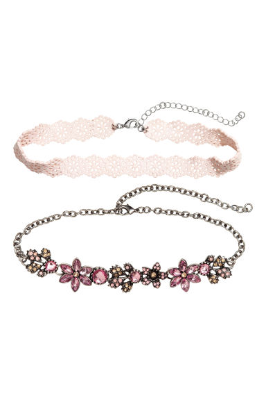 Set van 2 chokers - Zilverkleurig/roze - DAMES | H&M BE