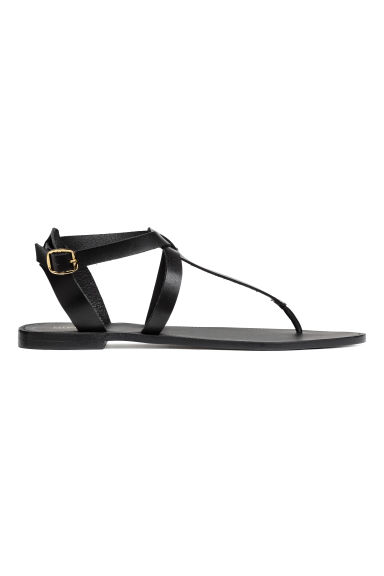 Leather sandals - Black - Ladies | H&M GB