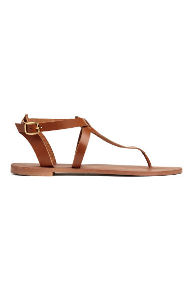 Leather sandals - Cognac brown - Ladies | H&M CN