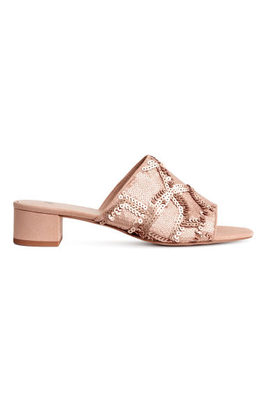 Sequined mules - Powder pink -  | H&M