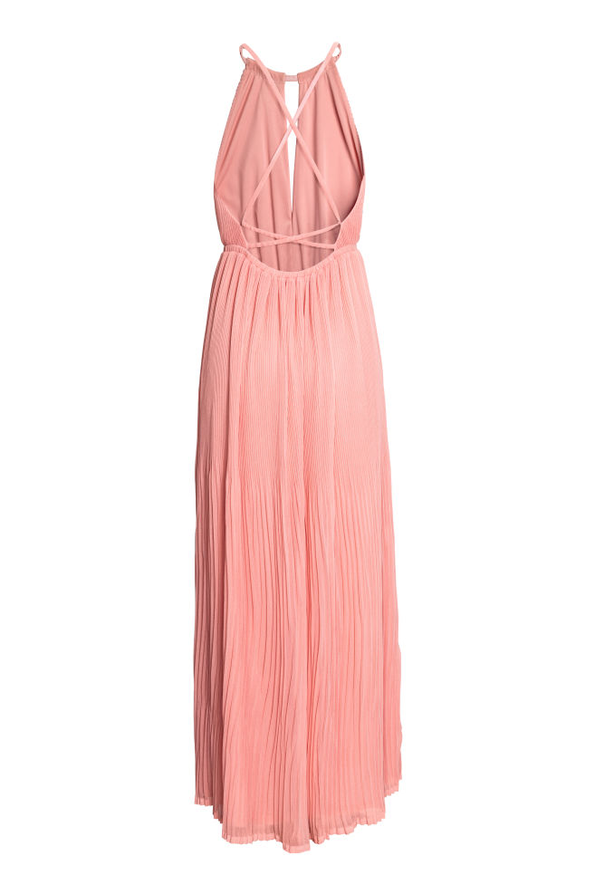 fa318342449 Robe longue plissée - Rose clair - FEMME