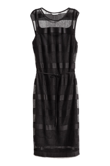 Sleeveless mesh dress - Black - Ladies | H&M GB