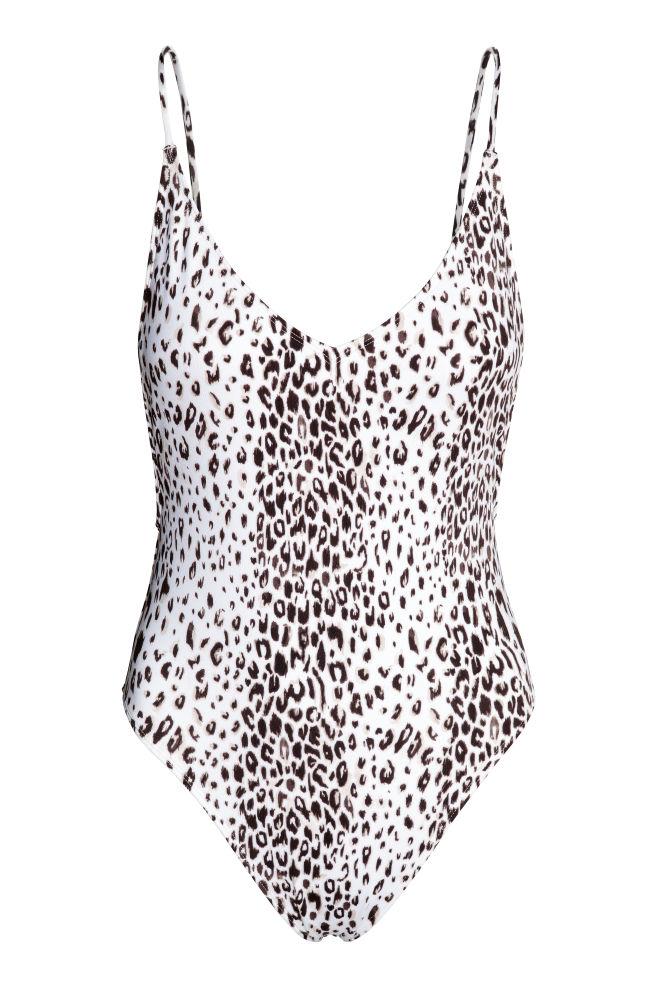 3ae793f77af5 V-neck swimsuit - White/Leopard print - Ladies | H&M ...