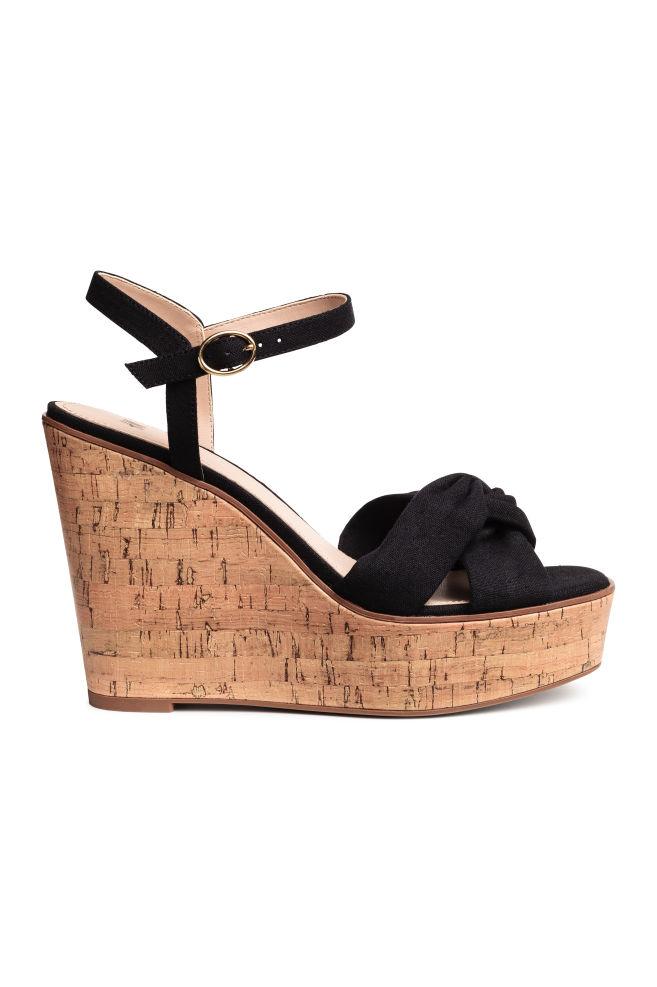 907616ddc2051 Wedge-heel sandals - Black - Ladies   H&M ...
