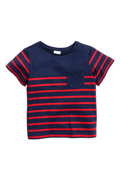 Striped T-shirt - Dark blue/Red striped - Kids | H&M CN
